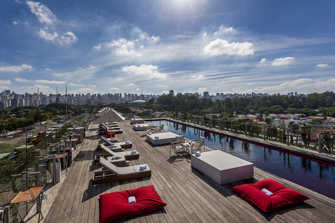 If you are in Sao Paulo, throw your Nomad swim trunks on and get to the Skye Bar atop the Unique Hotel