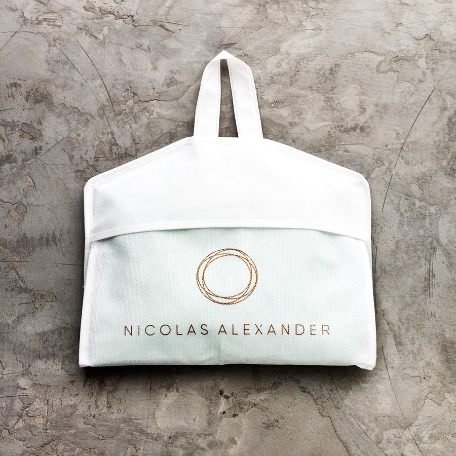 Every pair of our mid-length beach shorts come packaged in a Nicolas Alexander garment bag