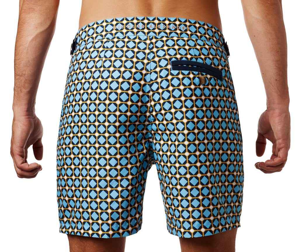 Back of Nomad bathing short in Gaudi print on the body