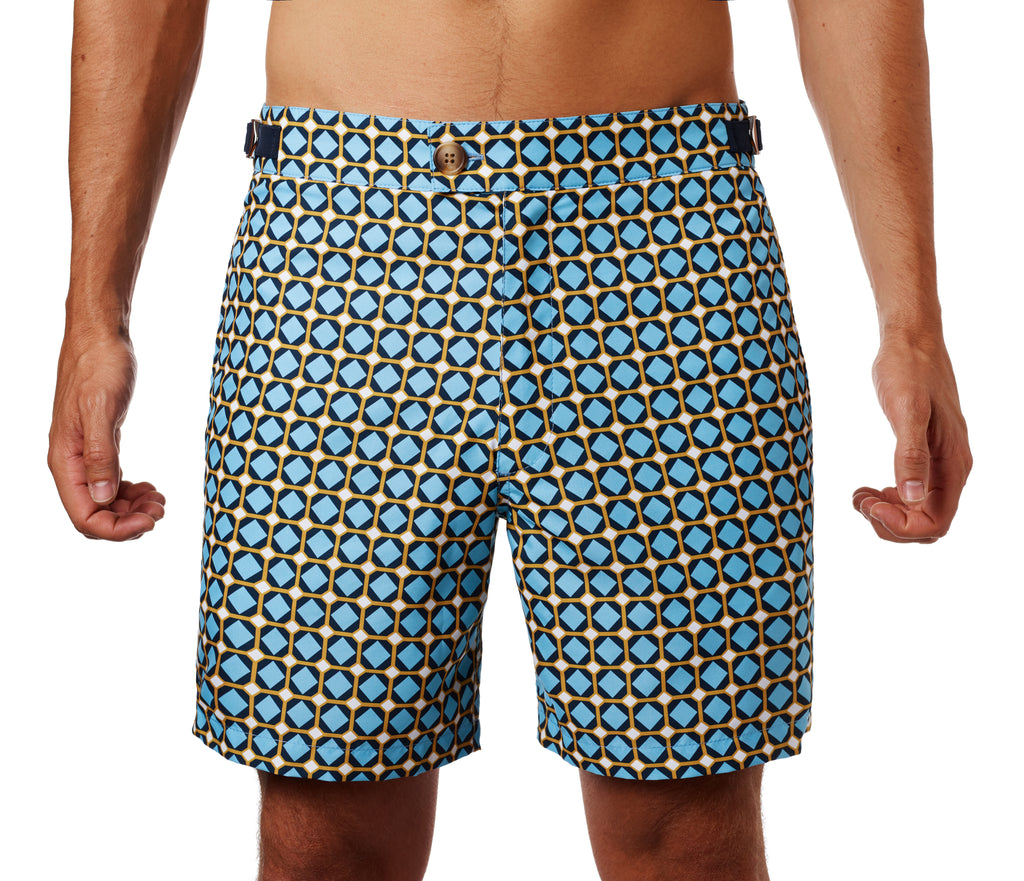 Front of Nomad swim short in Gaudi print on the body
