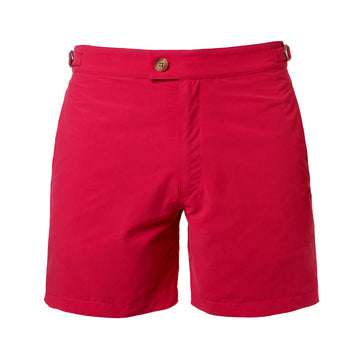 The Nomad swim short in Tinto is a rich cherry red colour