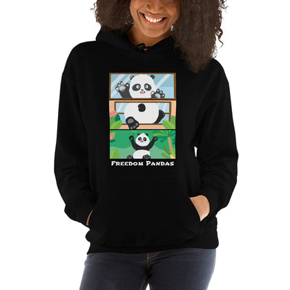 Panda Discovers Outside Hooded Sweatshirt - Freedom Pandas
