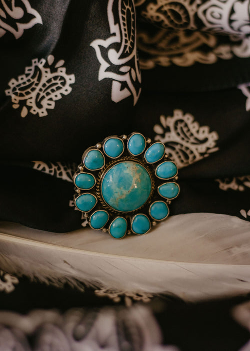 Flower Power Turquoise Adjustable Ring
