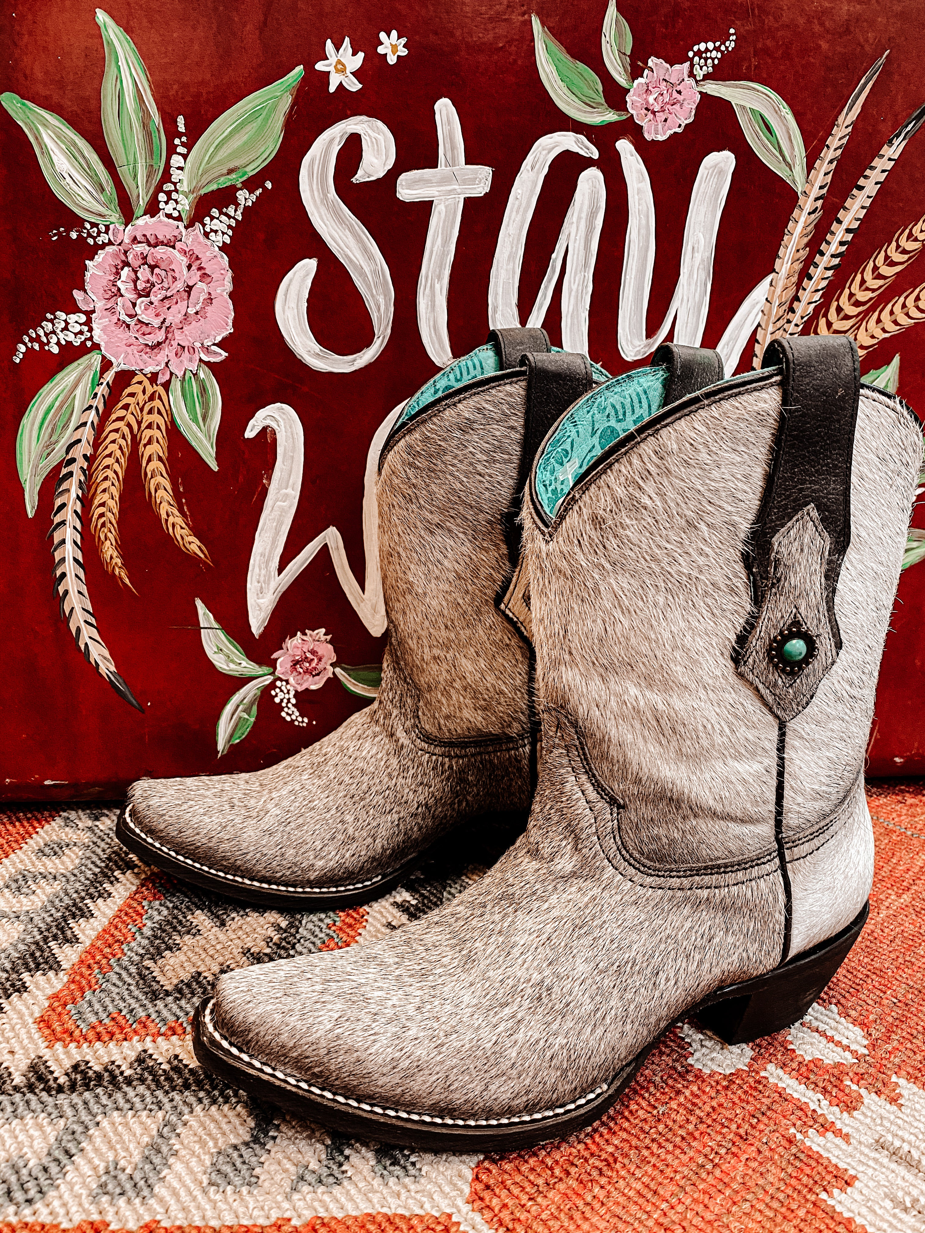 Black Betty Cowhide Concho Boot