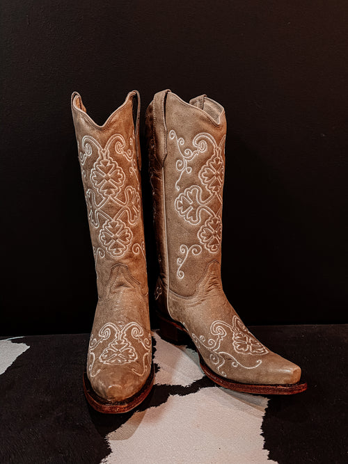 Bone Embroidered Boot