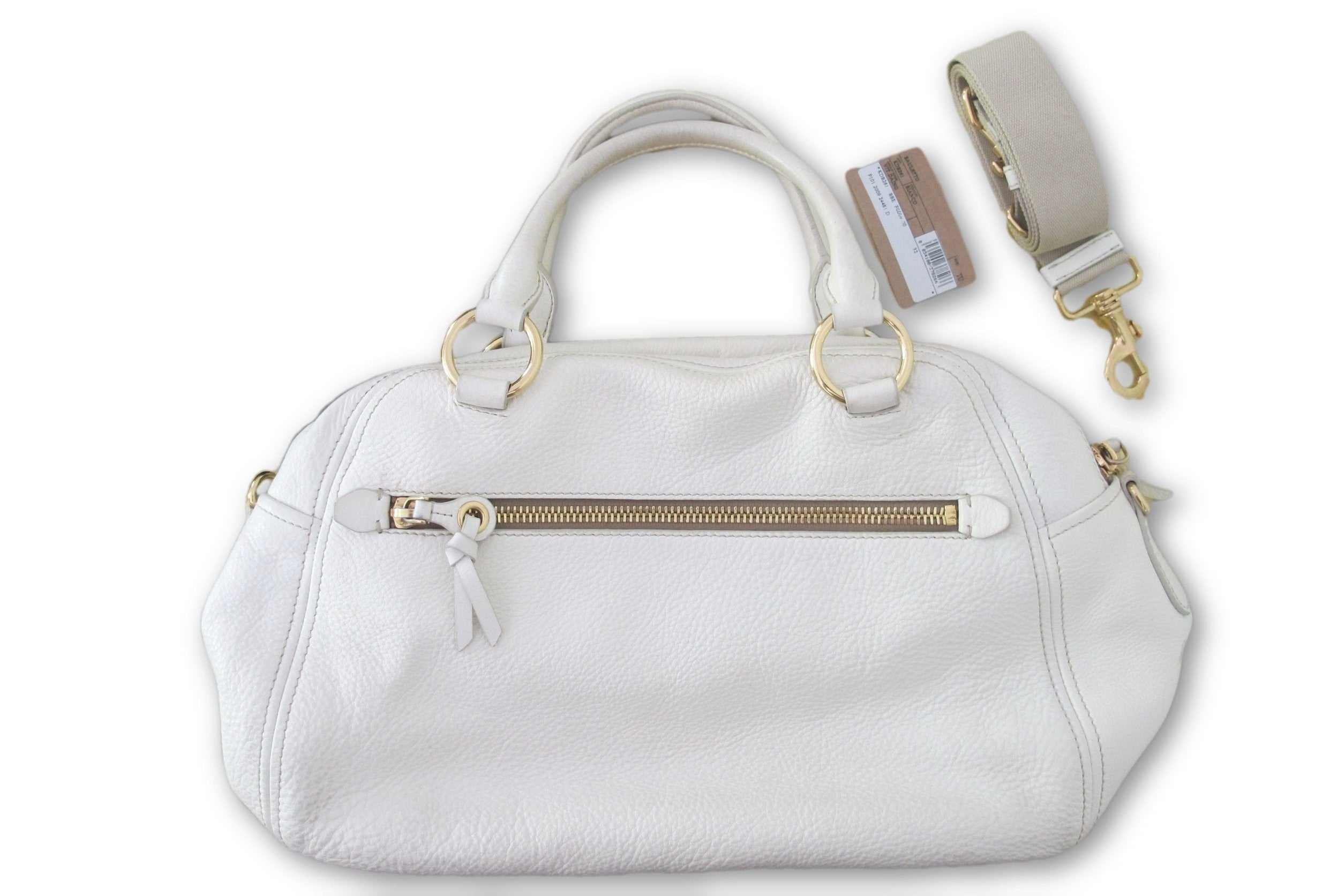 f8bdbe12fc90 ... White Very Good Condition Size Large Shoulder Sack Original Dust Bag Leather  Hobo Gold-tone
