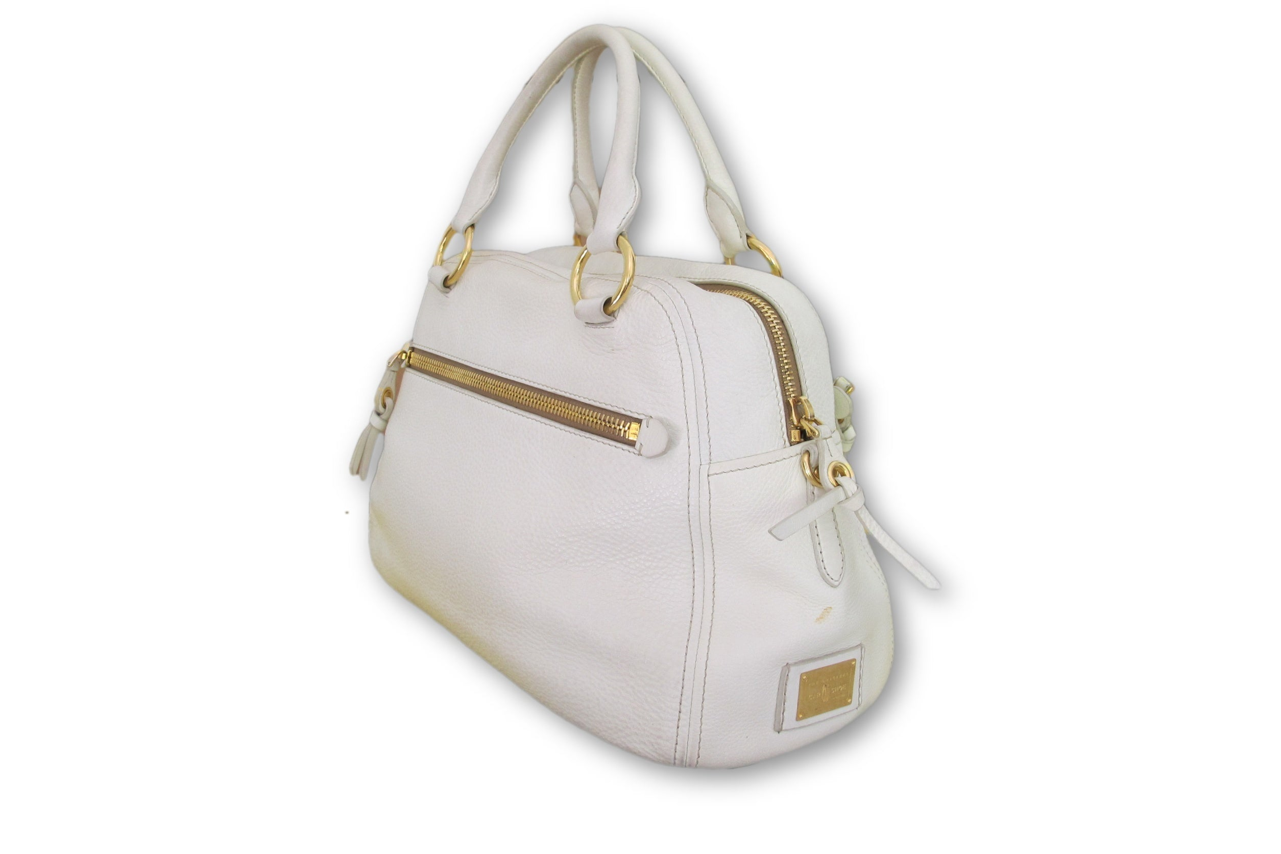 aedd96155253 ... White Very Good Condition Size Large Shoulder Sack Original Dust Bag Leather  Hobo Gold-tone ...