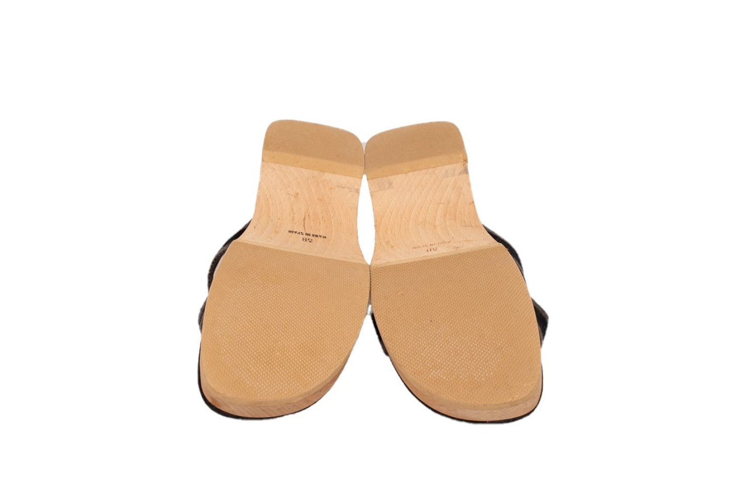 02048b2836aa ... Hermes Fourre Tout Low Wooden Wedge Mules 38 EU Slide Sandals Shoes sl