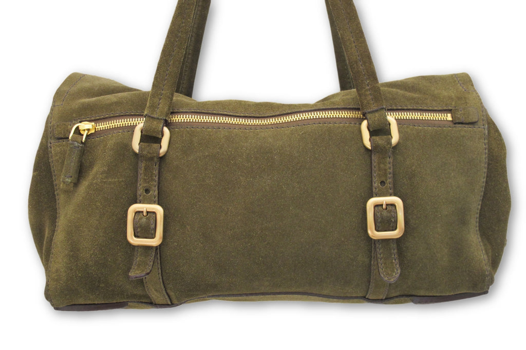 fd5f31091c Leather Olive Green Suede Shoulder Bag Satchel Push Lock Prada Handbag –  Brandsamsara