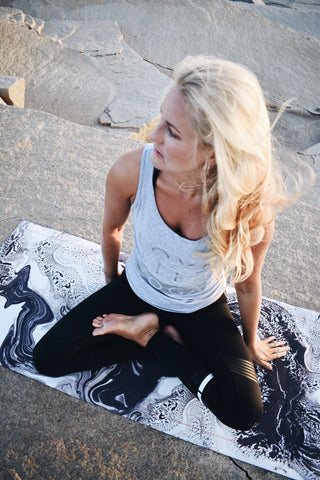 Matilde in our Love, Life, Yoga vest and Lilybod leggings