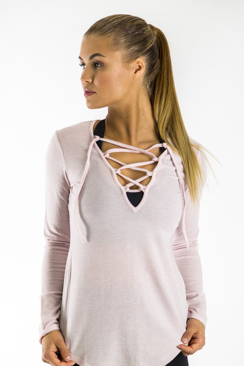 Felicia Tie-Up long sleeve Top (Blush)