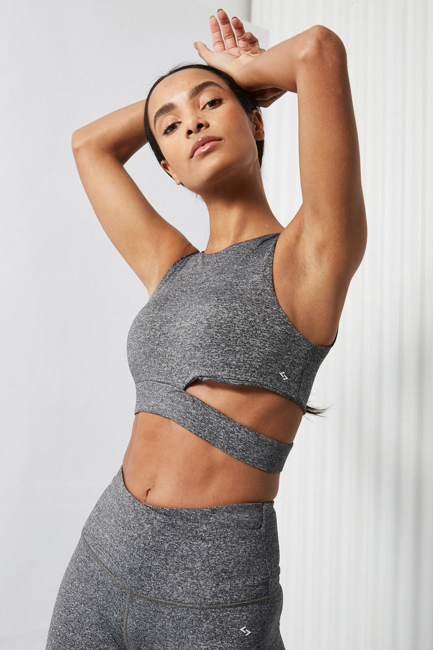 Side Cut Out Bra (Space Grey)