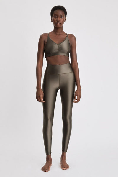 Cropped Gloss Leggings (Olive)