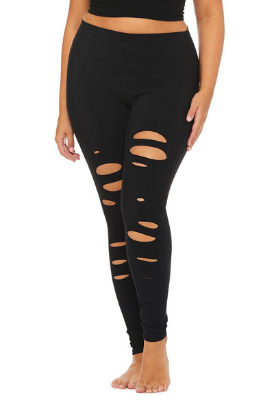 High Waist Ripped Warrior Legging (Black)