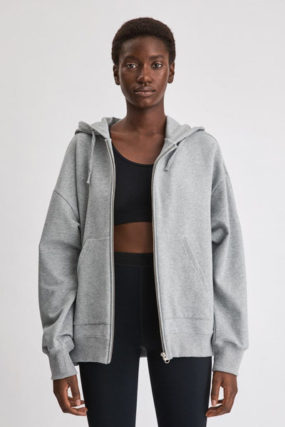Zip Hoodie (Light Grey Melange)