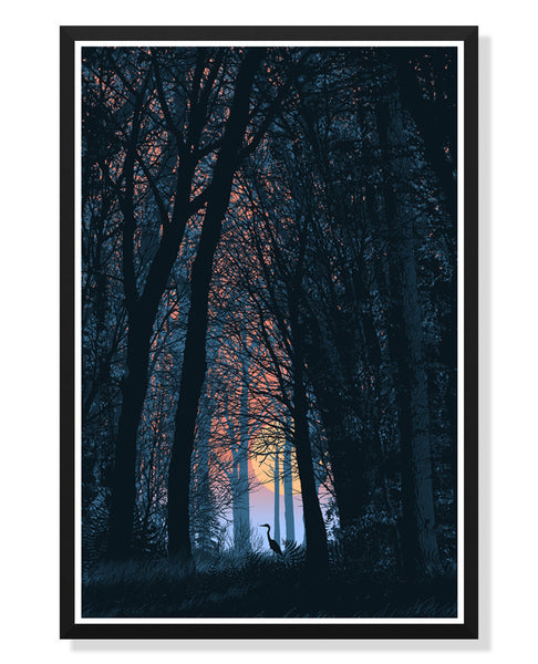 Crane in the Woods Poster by Dan McCarthy (Large Timed Edition)