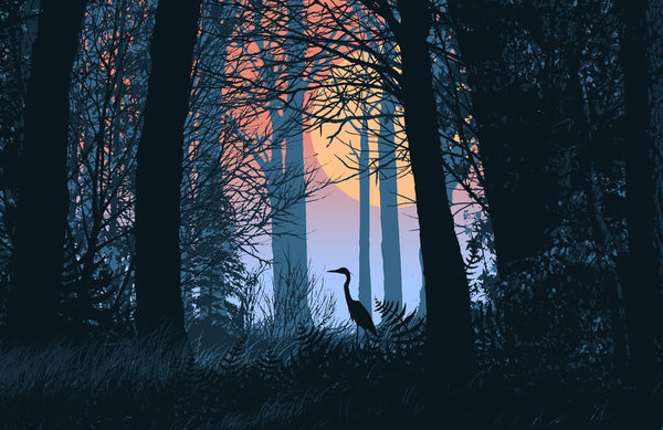 Crane in the Woods Poster by Dan McCarthy