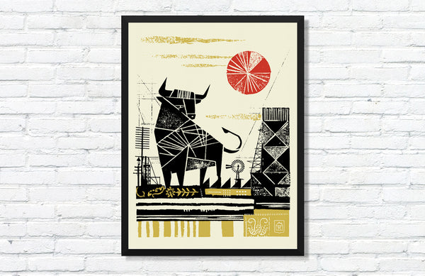 Bull Poster By Curtis Jinkins