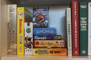 small shelf board game collection