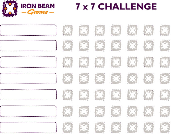 IRON BEAN Games 2018 7x7 board game challenge sheet
