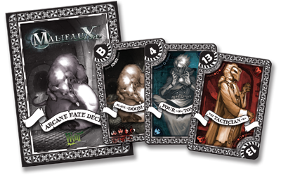 Malifaux 2E fate deck dark black and white second edition