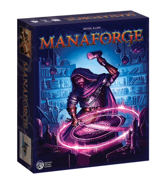 manaforge kickstarter board game box dice rolling crafting magic items fantasy