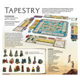 Tapestry board game box back components