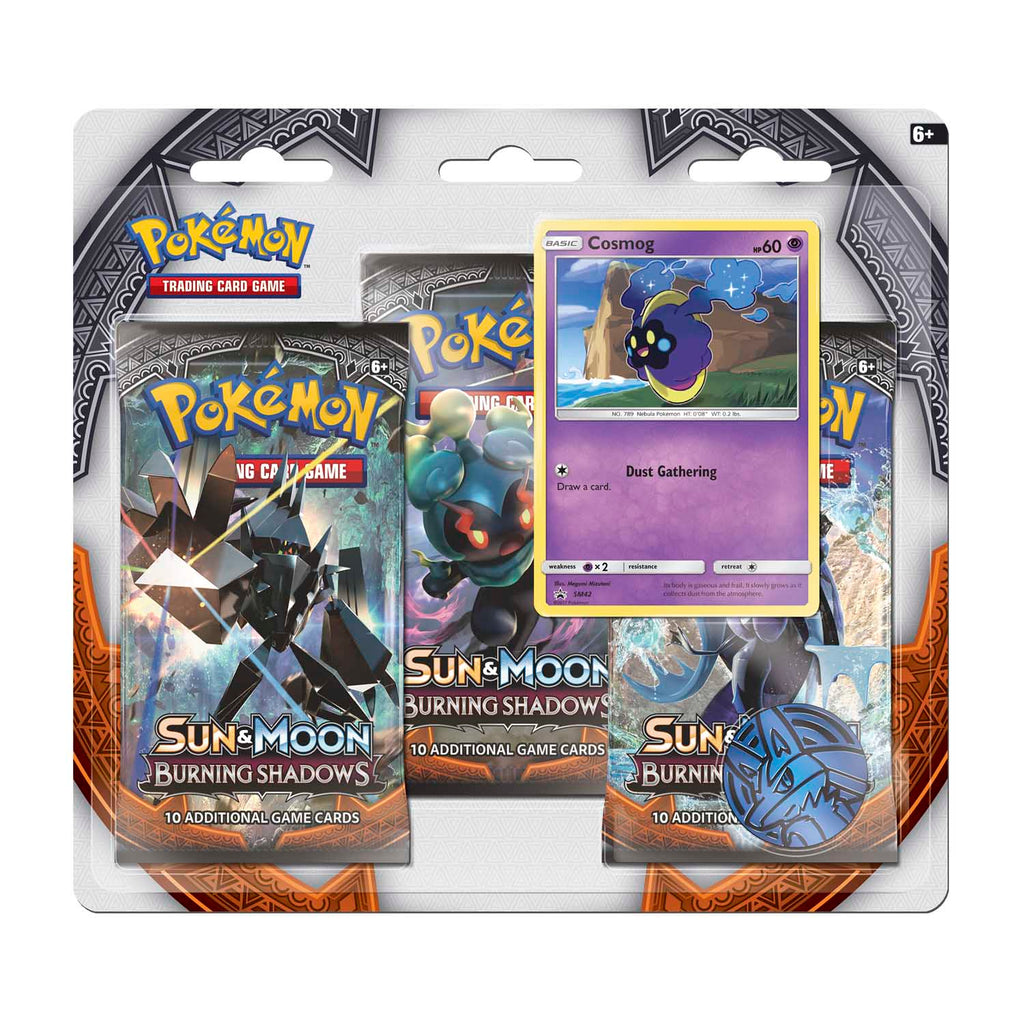 pokemon sun and moon burning shadows blister booster 3 pack promo card and coin