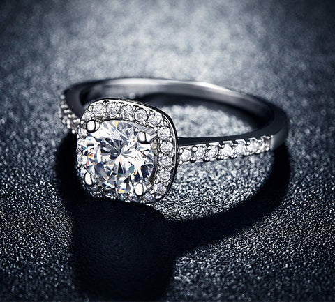 Elegant Platinum American Diamond Ring