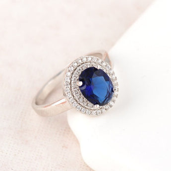 Elegant Blue Cubic Zirconia Crystal Silver Ring - Jewelpoche