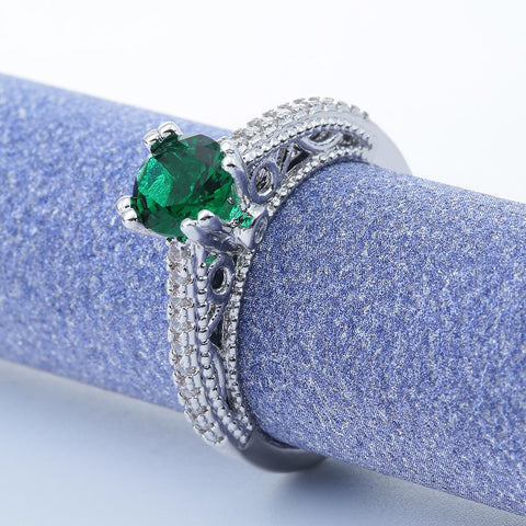Bold Emerald Platinum American Diamond Ring