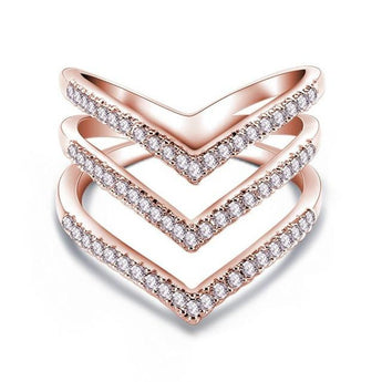 V Shape American Diamond Rose Gold And Silver Ring