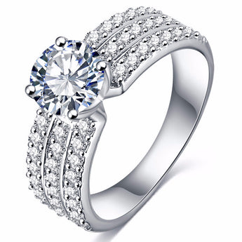 Brilliant Cut American Diamond Platinum Plated Ring - Jewelpoche