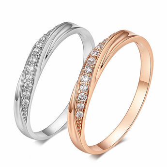 American Diamond Rose Gold / Platinum Ring - Jewelpoche