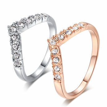 American Diamond Rose Gold And Platinum Heart V Ring