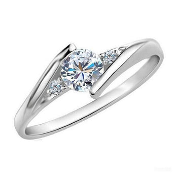 Elegant 925 Sterling Silver American Diamond Ring