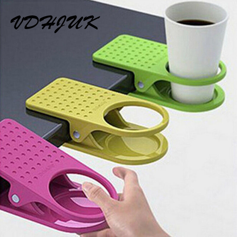 Home and office clip-on drink holder for desk