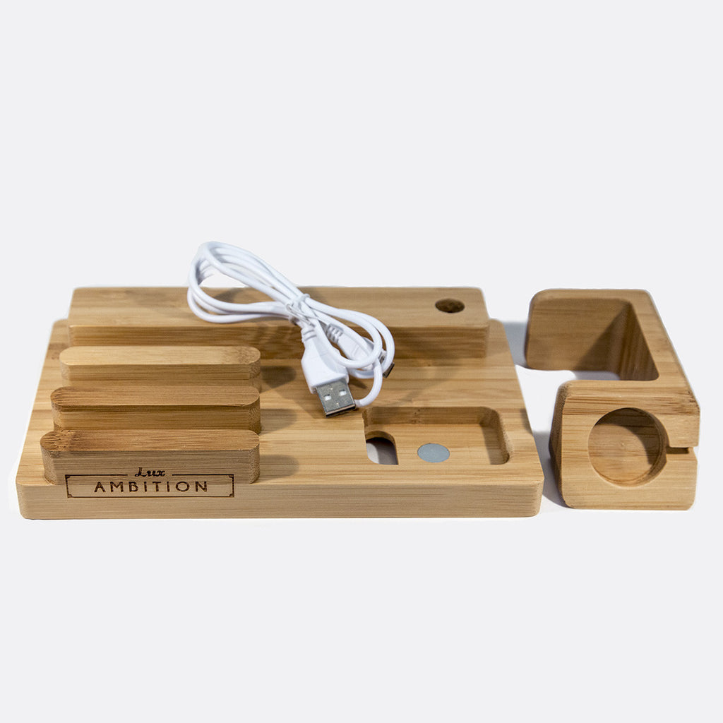 Bamboo Wood 3 in 1 Charging Dock Station