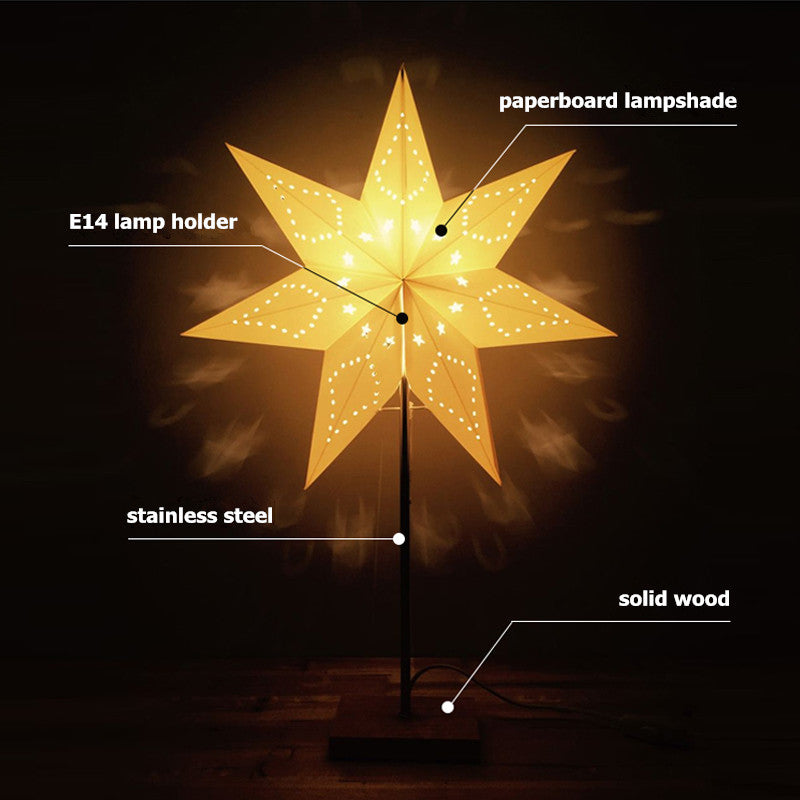LED Paper Star Desk lamp with wood lamp Base