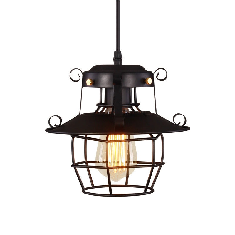 Retro Iron Cage Industrial Wire Frame Chandelier Ceiling Lamp Cover