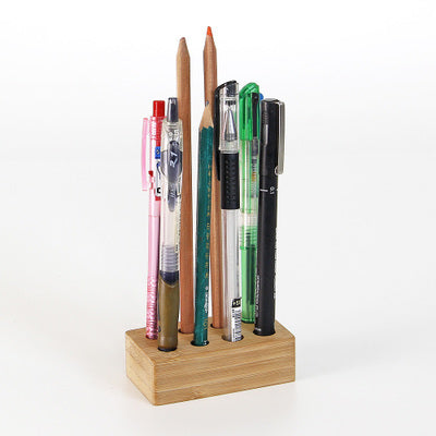 Custom carved bamboo pen and accessory holder