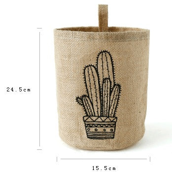 Cactus Linen Cotton Home Office Storage Pots
