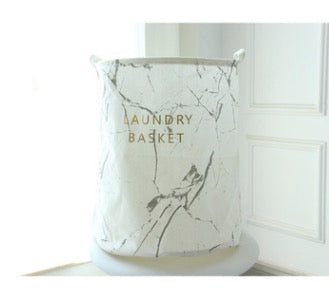 Nordic Marble White Grey Black Linen Cotton Home Office Storage Basket
