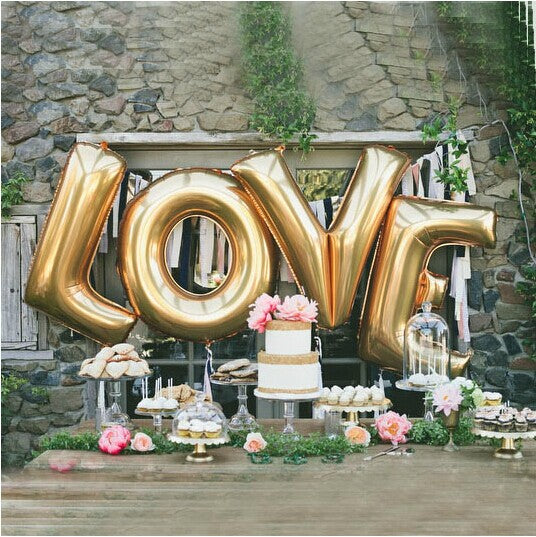 Love Balloons 40 Inch Giant Jumbo Letter Balloons / Wedding / Birthday Party / Baby / Bridal Shower / Gold / Silver / Mylar Foil