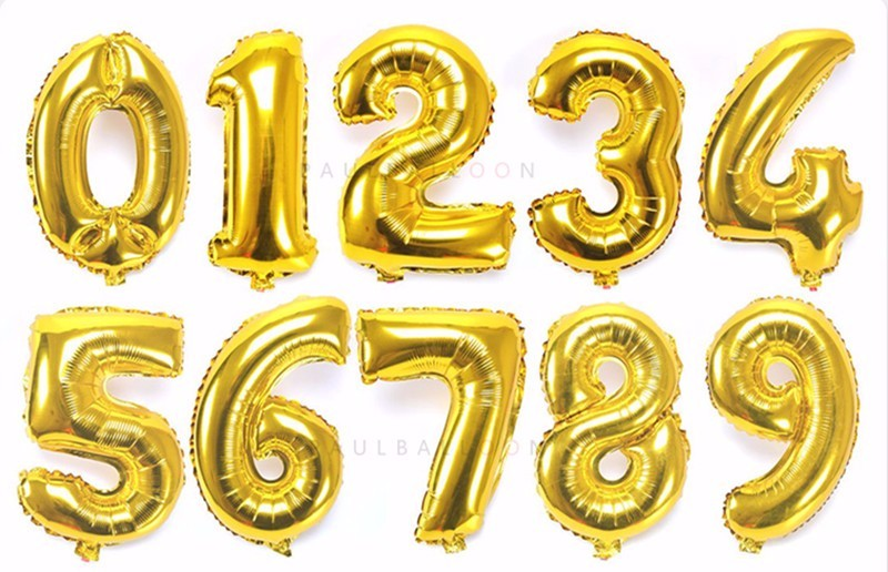 40 inch Gold Silver Number Foil Balloons for wedding decoration and Birthday Party Supplies