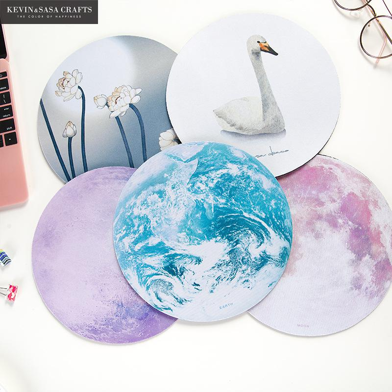 White Moon Office Mouse Pad