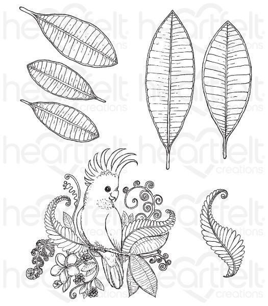 hcpc-3781 - Tropical Cockatoo Cling Stamp Set
