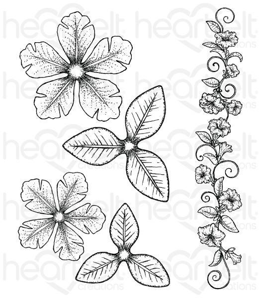 hcpc-3786 -   HCPC-3786 - Large Classic Petunia Cling Stamp Set