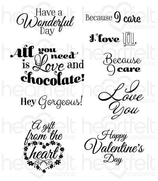 HCPC-3804 - Heartfelt Love : Heartfelt Love Sentiments Cling Stamp Set