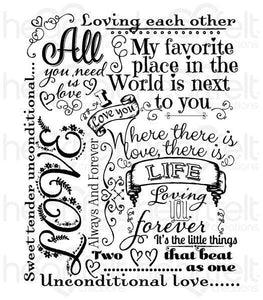 HCPC-3805 - Heartfelt Love : Forever Love Background Cling Stamp Set